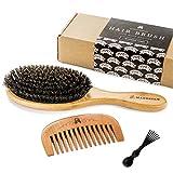 Haarbürste aus Wildschweinborsten für natürliche Haarkonditionierung, Holzkamm zur Haarentwirrung, Set für glänzendes und seidiges Haar. Inbegriffen Bürstenreiniger