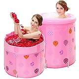 Xing Hua home Falteimer runde Badewannenwanne Wanne Badewanne für Erwachsene aufblasbare Kunststoffwanne Babywanne für Kinder pinkfarbener Kunststoffeimer höhenverstellbare Badewanne (Color : Pink)