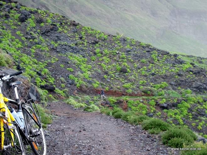 Radreise Kanaren: Schotterpiste zum Grillplatz bei Sabinosa auf El Hierro