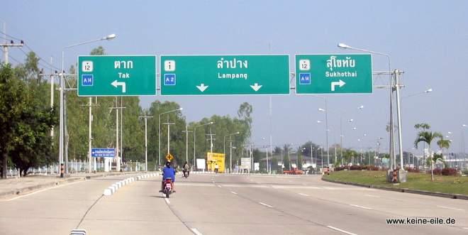 Verkehrsschilder: Tak - Lampang - Sukothai