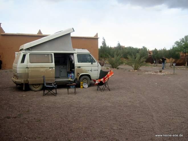 Auf dem Campingplatz in Nekob, Marokko