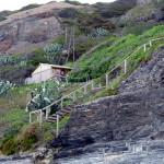 Portugal, Algarve, Praia Carreagem-Hütte am Strand