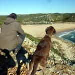 Olaf und Lucy beim Fernsehen am Praia Barranco, Algarve, Portugal