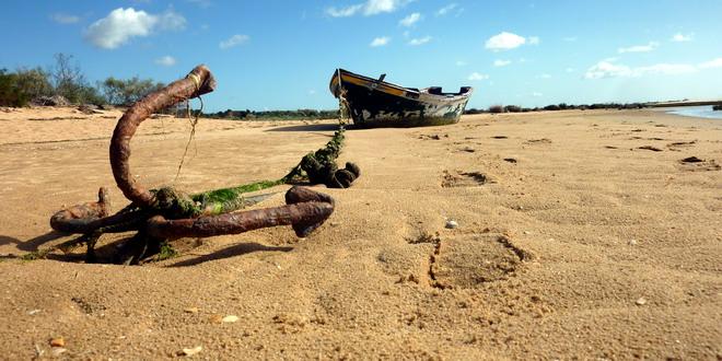 Ebbe in der Lagune, Cacela Velha, Algarve, Portugal