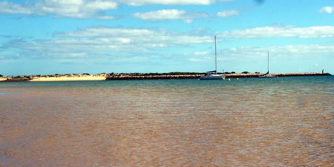 Reisebericht Algarve Blick auf die Ilha Tavira, Tavira, Portugal