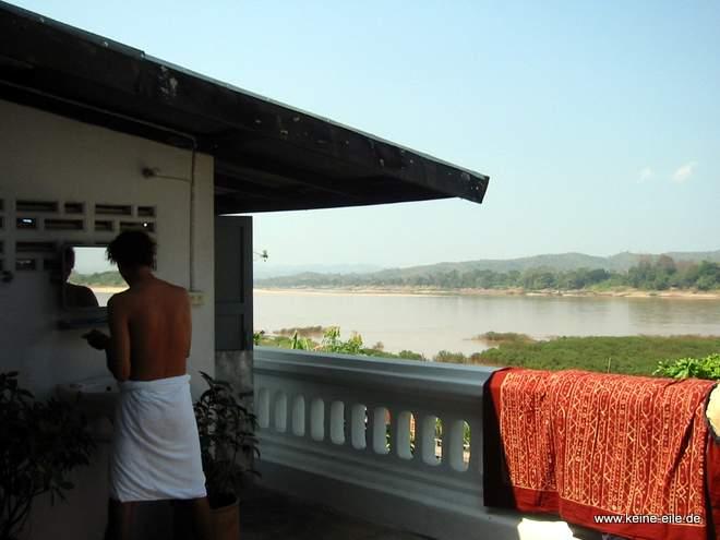 Radrundreise Thailand: Guesthouse am Mekong