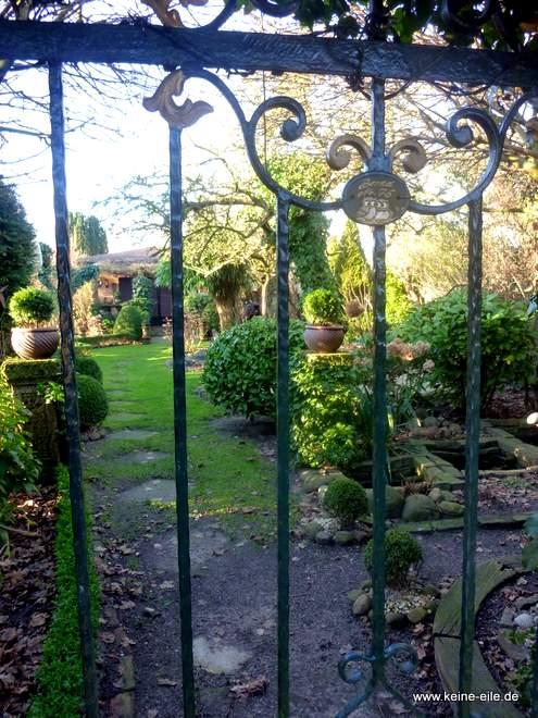 Aussicht in einen Kleingarten