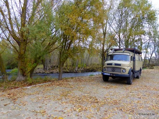 Mit dem Wohnmobil nach Portugal, Übernachtungsplatz in Pampliega