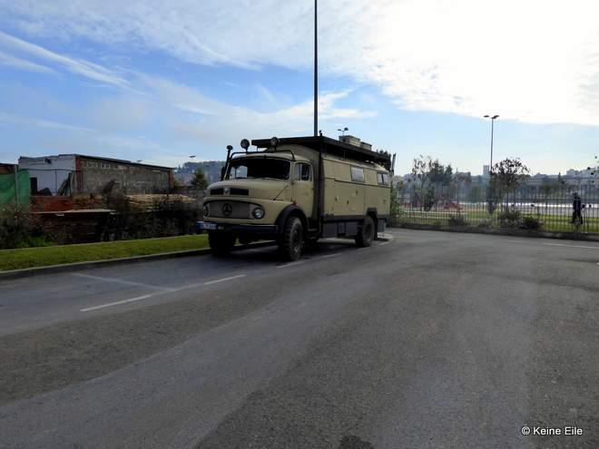 Mit dem Wohnmobil nach Portugal Anreise Auf dem Wohnmobilstellplatz in Badajoz, Spanien