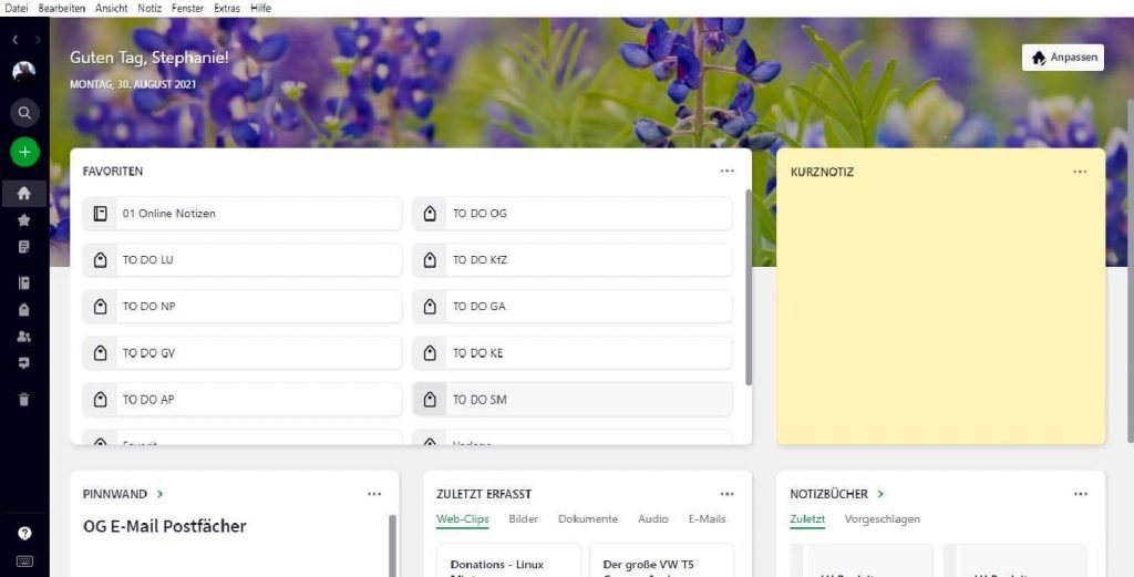 Notizen App: Von Evernote zu Joplin: Evernote Startseite Sreenshot
