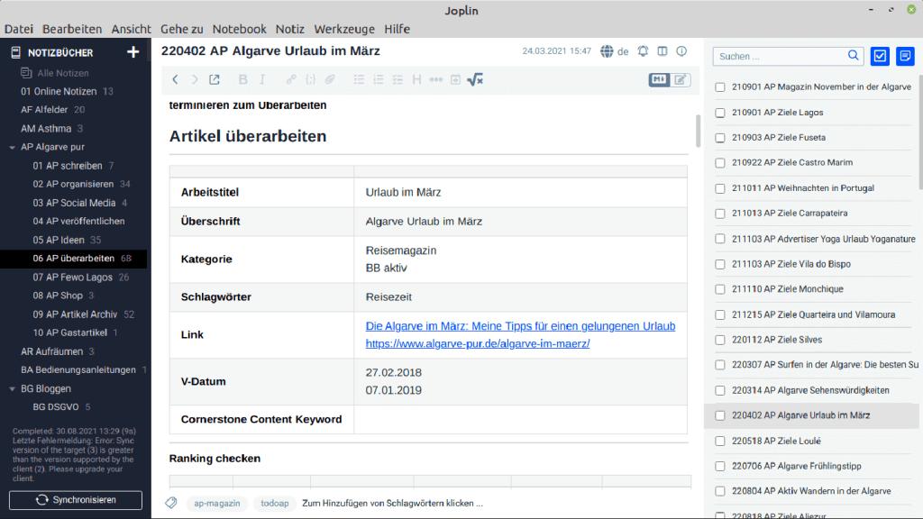 Notizen App: Von Evernote zu Joplin: Joplin Notizansicht
