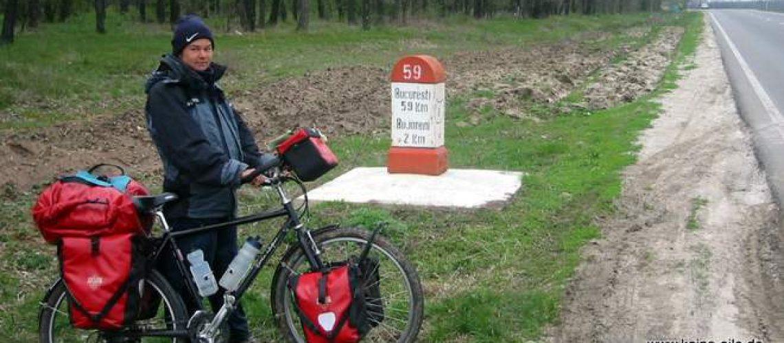 Radreise Rumänien: Kilometerstein